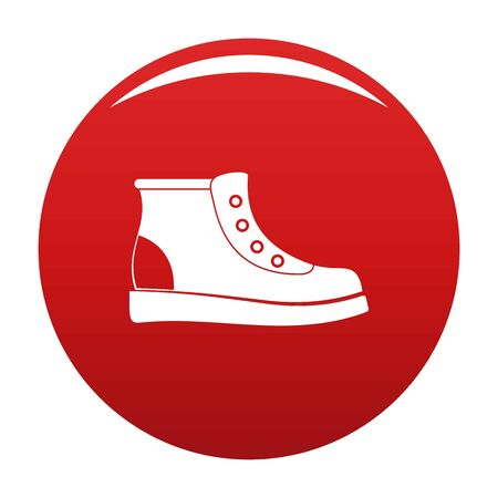 Hiking boots icon. Simple illustration of hiking boots vector icon for any any design red