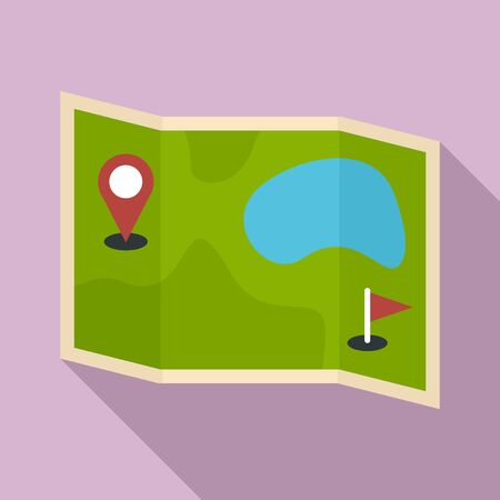 Golf field map icon, flat style Illustration