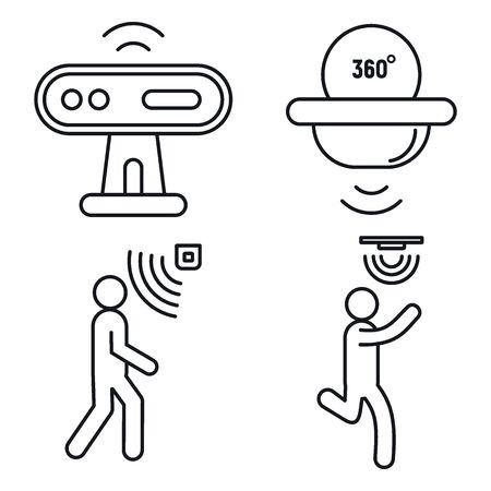Bewegungssensor-Detektor-Symbole gesetzt. Umrisse von Bewegungssensor-Detektor-Vektorsymbolen für Webdesign isoliert auf weißem Hintergrund Vektorgrafik