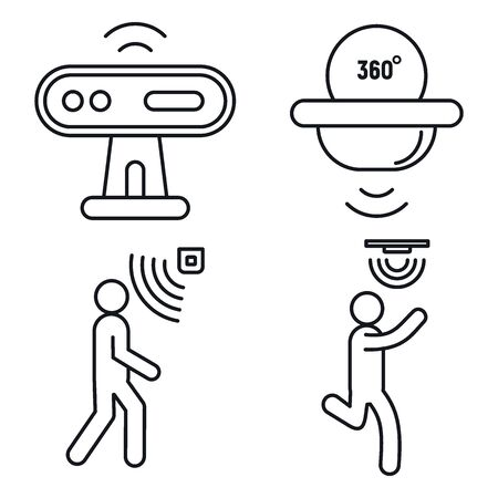 Motion sensor detector icons set. Outline set of motion sensor detector vector icons for web design isolated on white background