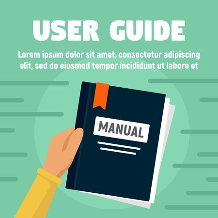 User guide manual concept banner, flat style