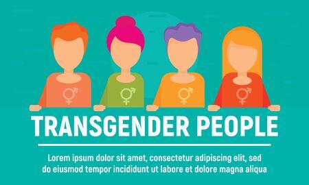 Transgender people concept banner, flat style