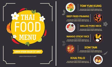 Thai food menu concept banner. Flat illustration of thai food menu vector concept banner for web design