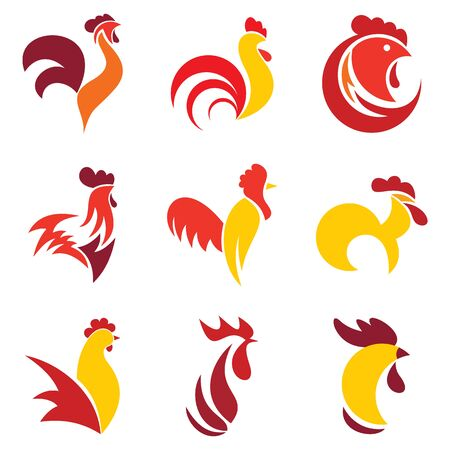 Rooster set, flat style