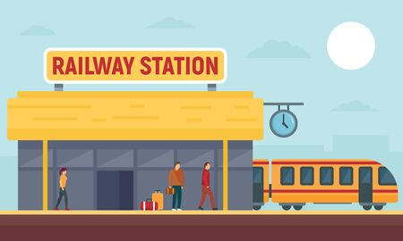 Railway station concept banner, flat style