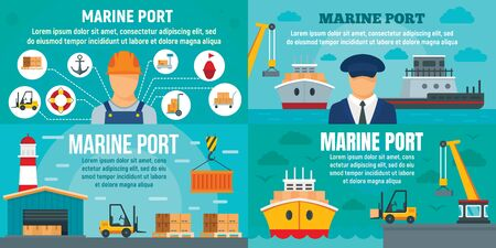 Marine port banner set. Flat illustration of marine port banner set for web design