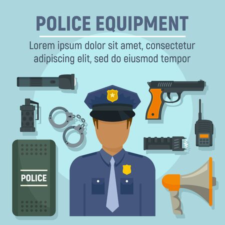 Police officer equipment concept background. Flat illustration of police officer equipment concept background for web design
