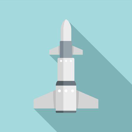 Intercontinental rocket icon, flat style