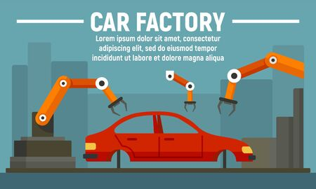 Car factory concept banner, flat style Stok Fotoğraf