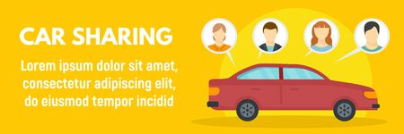 Family car sharing concept banner, flat style 스톡 콘텐츠