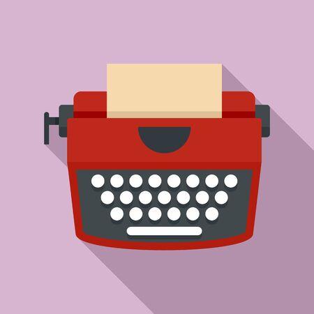 Red retro typewriter icon. Flat illustration of red retro typewriter icon for web design Banco de Imagens
