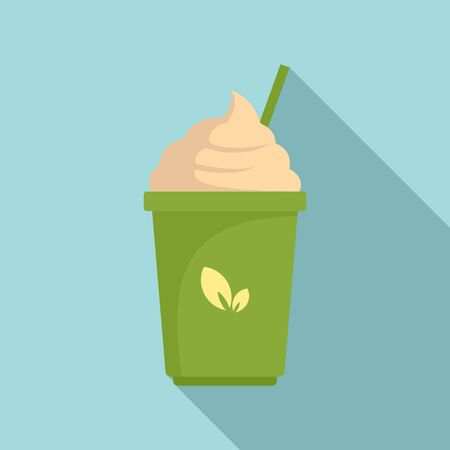 Matcha ice cream icon. Flat illustration of matcha ice cream icon for web design