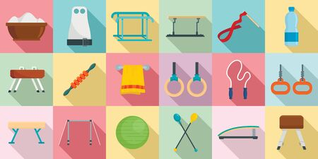 Gymnastics equipment icons set. Flat set of gymnastics equipment icons for web design Foto de archivo - 126979904