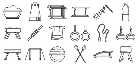 Modern gymnastics equipment icons set. Outline set of modern gymnastics equipment icons for web design isolated on white background Foto de archivo - 126979903