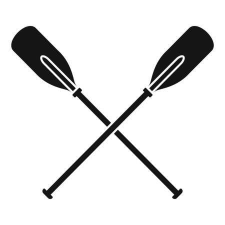 Crossed wood paddle icon, simple style
