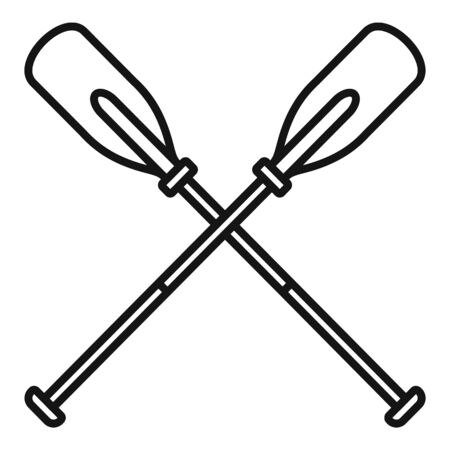 Metal crossed oars icon, outline style Фото со стока