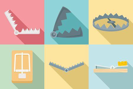 Trap icons set, flat style