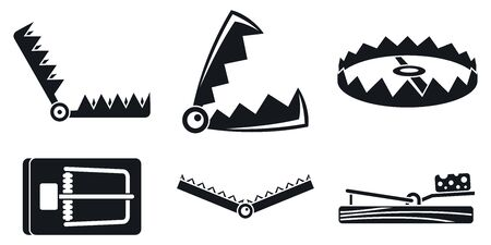 Trap catch icons set, simple style