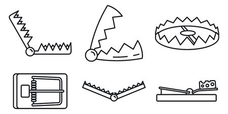 Bear trap icons set, outline style