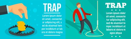 Trap banner set, flat style 스톡 콘텐츠