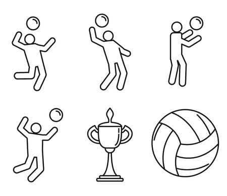 Volleyball sport icons set. Outline set of volleyball sport icons for web design isolated on white background