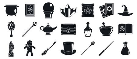 Magician wizard tools icons set. Simple set of magician wizard tools icons for web design on white background Stockfoto