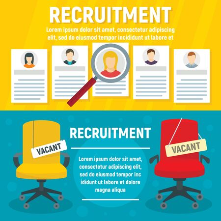 Recruitment banner set. Flat illustration of recruitment banner set for web design Stock Photo