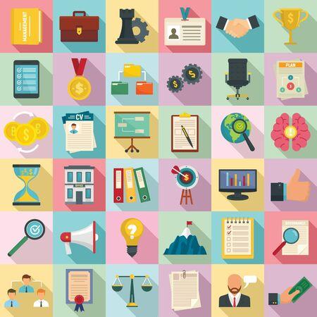 Corporate governance icons set. Flat set of corporate governance icons for web design