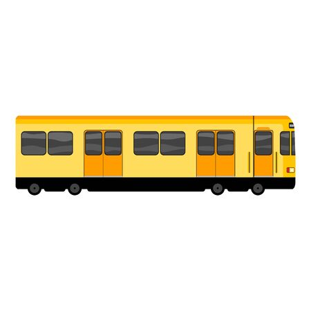 Yellow subway train icon. Cartoon of yellow subway train icon for web design isolated on white background Фото со стока