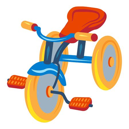 Child tricycle icon. Cartoon of child tricycle icon for web design isolated on white background