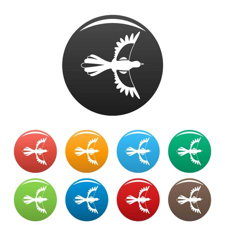 Air fly magpie icons set 9 color isolated on white for any design