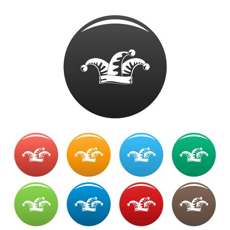 Jester icons set 9 color isolated on white for any design