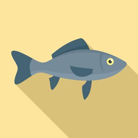 Sea fish icon. Flat illustration of sea fish icon for web design