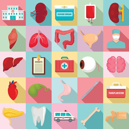 Donate organs icons set. Flat set of donate organs icons for web design 스톡 콘텐츠