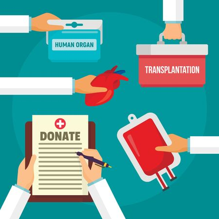 Hospital donate organs concept background. Flat illustration of hospital donate organs concept background for web design Imagens
