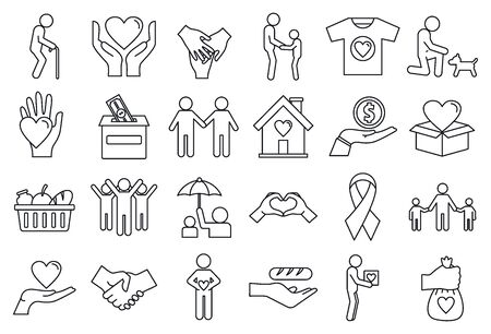 Volunteering charity icons set. Outline set of volunteering charity icons for web design isolated on white background