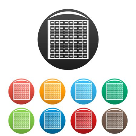 Solar battery cell icons set 9 color isolated on white for any design