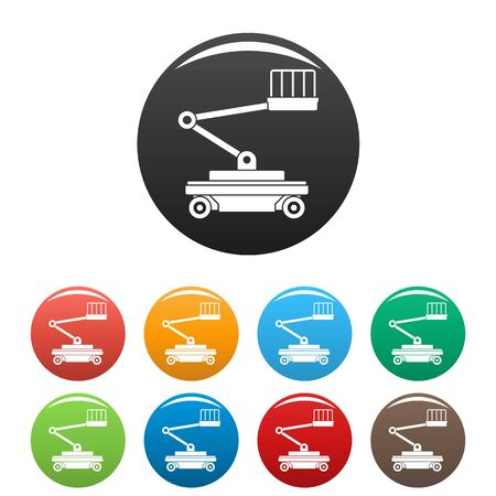 Lift service icons set 9 color isolated on white for any design Foto de archivo