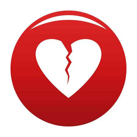 Broken heart icon. Simple illustration of broken heart icon for any design red
