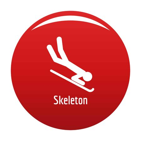 Skeleton icon. Simple illustration of skeleton icon for any design red