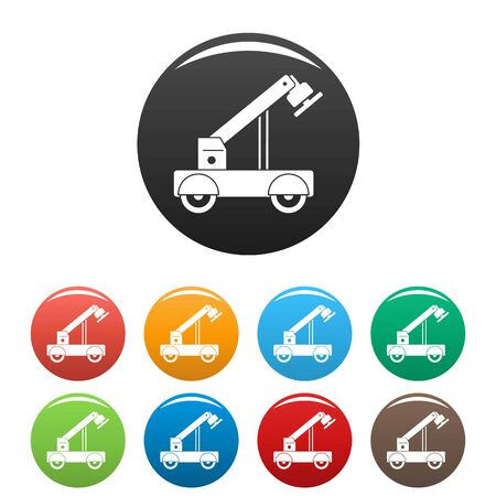 Magnet crane icons set 9 color isolated on white for any design Stok Fotoğraf