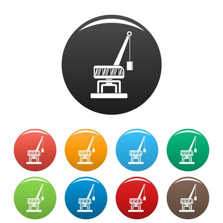 Destroy crane icons set 9 color isolated on white for any design