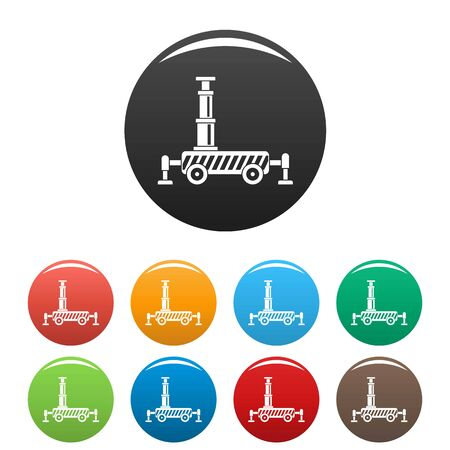 Hydraulic crane icons set 9 color isolated on white for any design Фото со стока