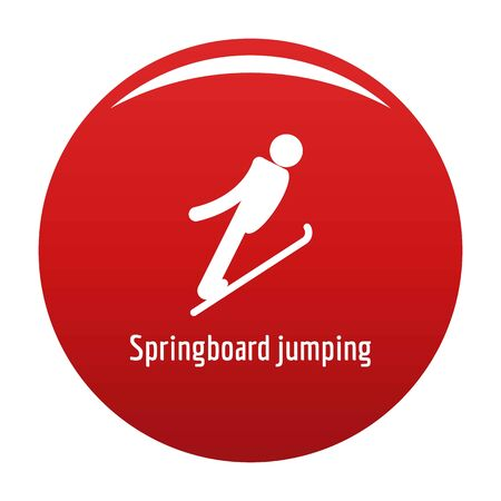 Springboard jumping icon. Simple illustration of springboard jumping icon for any design red