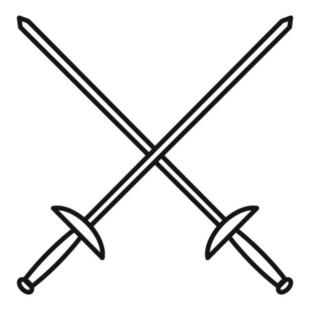 Crossed fencing sword icon. Outline crossed fencing sword vector icon for web design isolated on white background