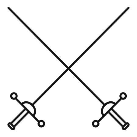 Crossed rapiers icon. Outline crossed rapiers vector icon for web design isolated on white background