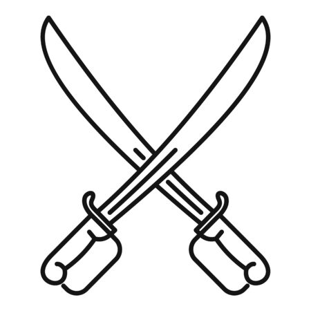 Fencing swords icon. Outline fencing swords vector icon for web design isolated on white background 写真素材 - 127025845