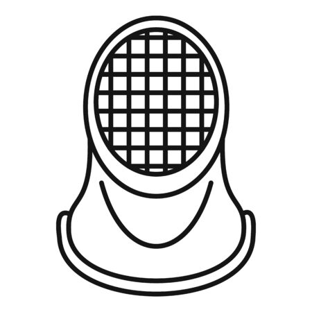Fencing helmet icon. Outline fencing helmet vector icon for web design isolated on white background