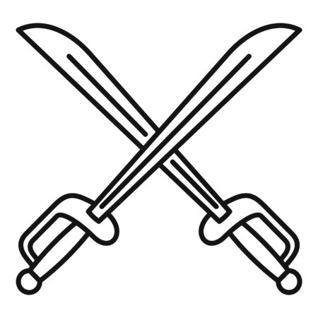 Warrior crossed sword icon. Outline warrior crossed sword vector icon for web design isolated on white background Illustration