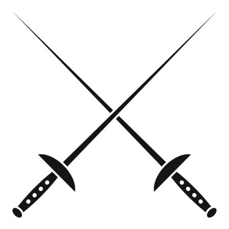 Crossed fencing sword icon. Simple illustration of crossed fencing sword vector icon for web design isolated on white background Illustration